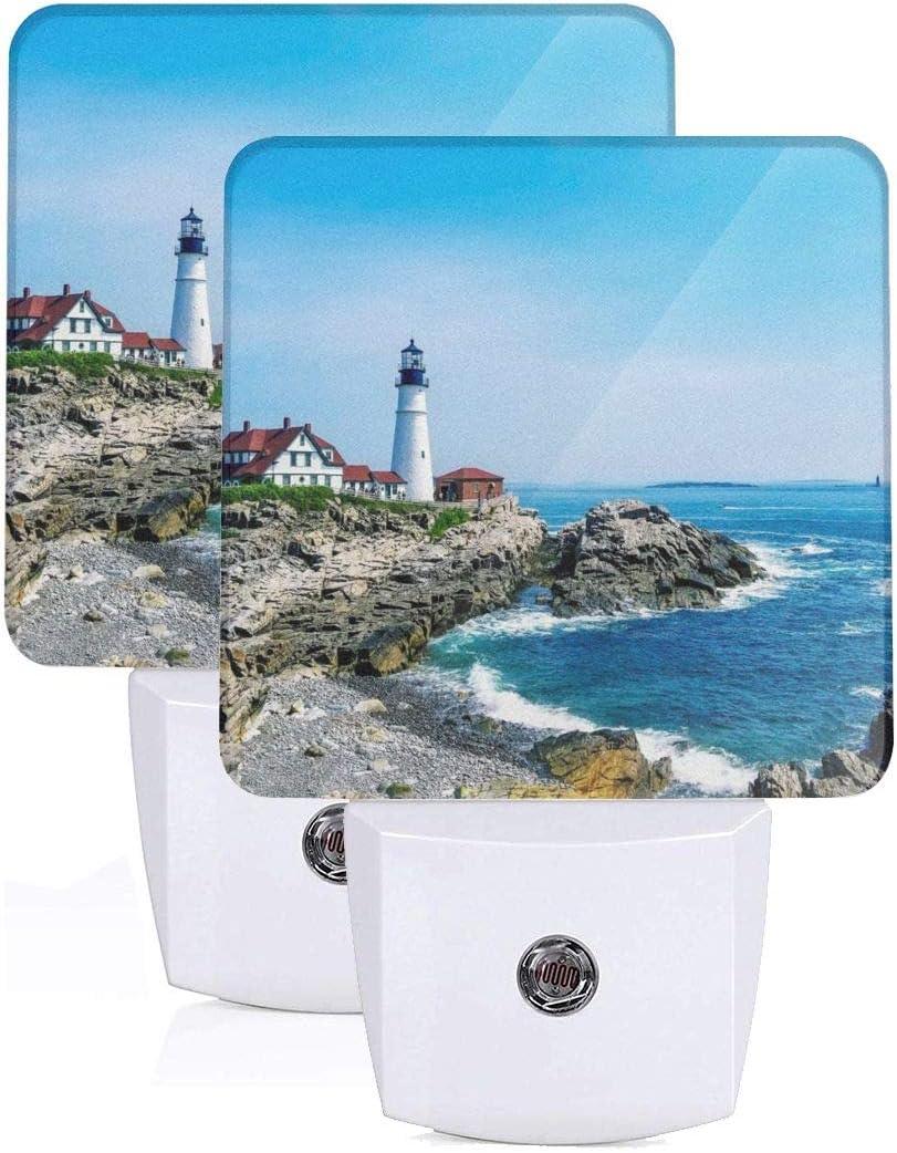 Set of 2 Led Night Lights, Portland Head Lighthouse Auto Dusk-to-Dawn Sensor Night Lamp Plug-in Home Decorative for Adult