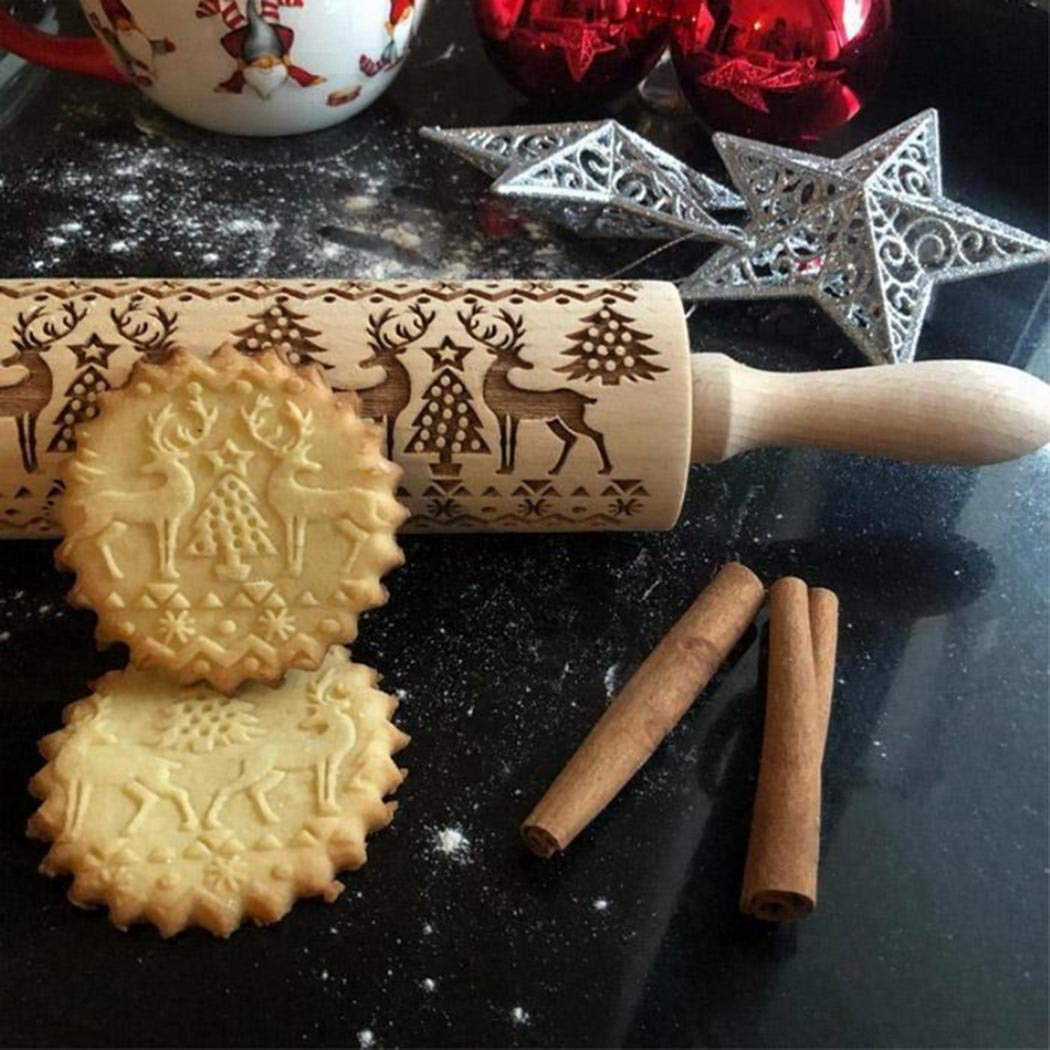 GuGio Christmas Wooden Rolling Pins, Wooden Engraved Embossing Rolling Pin with Christmas Deer Pattern for Baking Embossed Cookies,Rolling Pin Kitchen Tool for Kids and Adults to Make Cookie Dough by GuGio (Image #2)