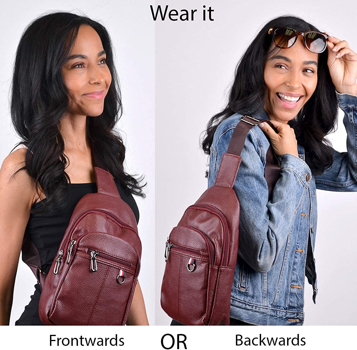 Westend Crossbody Sling Bag Backpack with Adjustable Strap Burgundy Leather Sling