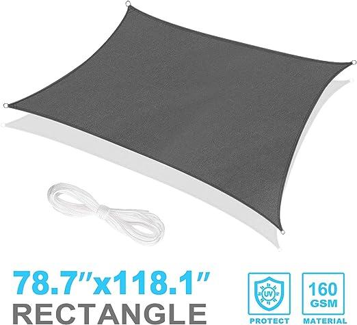 RATEL Toldo Vela de Sombra Rectangular Gris 2 x 3 m, protección 95 ...