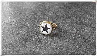 Black Star, anello regolabile anello, bronzo, nero e bianco, delicato, anello a cupola in vetro di gioielli, Pure Handmade Jewellery Elf House L007