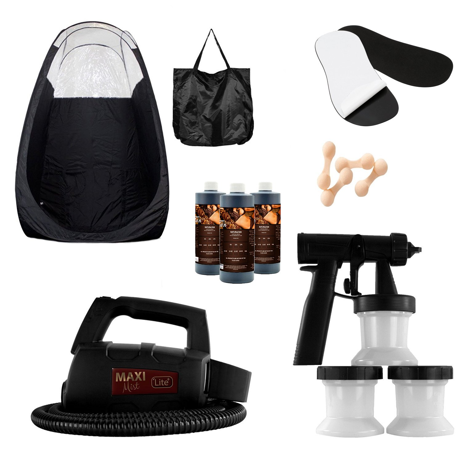MaxiMist Lite Plus HVLP Sunless Spray Tan KIT w Tent, 25 pr foot protecters, 25 nose filters (Black Tent Black foot sole covers) by MaxiMist (Image #1)