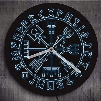 Cyalla Vivisille Brújula Vikingos Símbolo Runas Led Reloj De Pared De Neón Vikingo Escandinavo Moderno Reloj