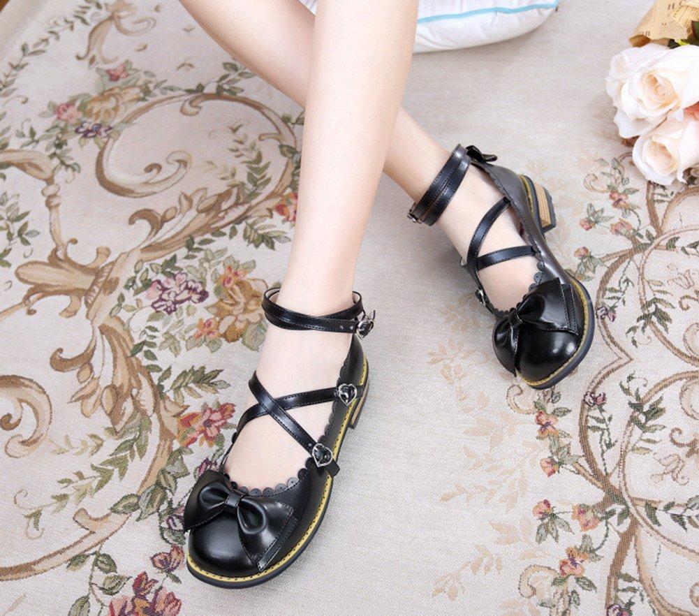 Japanese Sweet Lolita Low Chunky Heels Round Toe Bowtie Strappy Princess Shoes B06XBZHBDD 9 M US|Black