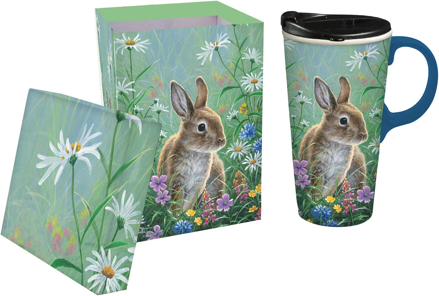 Spring Bunny Ceramic Travel Cup - 4 x 5 x 7 Inches