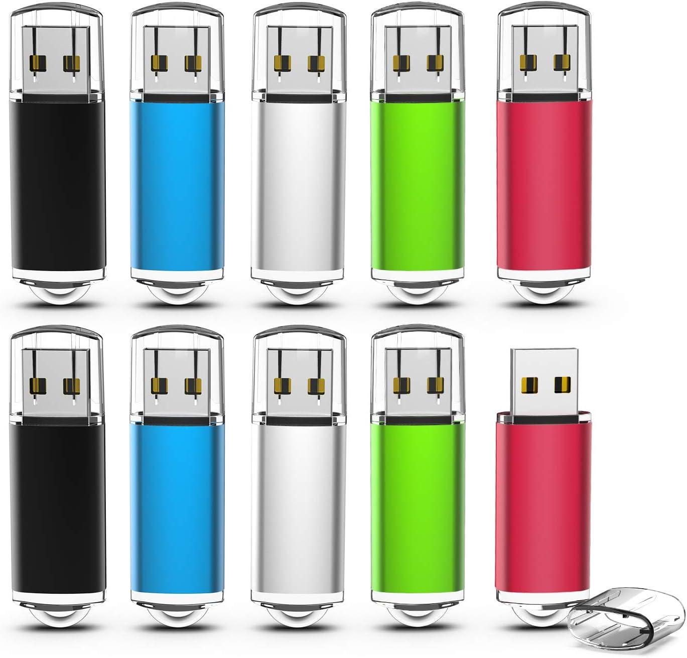 Memorias USB 4GB, TOPESEL Pendrives 10 Piezas USB 2.0 Stick Llave USB Flash Drive, Pack de 10 Unidades (5 Colores Negro Azul Plata Verde Rojo): Amazon.es: Informática