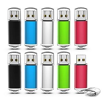 Memorias USB 2GB, TOPESEL Pendrives 10 Piezas USB 2.0 Stick Llave USB Flash Drive, Pack de 10 Unidades (5 Colores Negro Azul Plata Verde Rojo) …