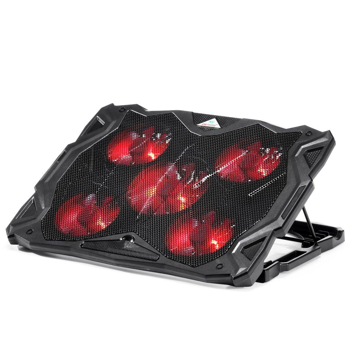 ノートパソコンクーラースタンドwith 5超静かなファン、LEDライトjmmaxpro 5角度と風速度調節可能冷却パッドfor 14 – 17インチノートパソコン   B071FQ4J5M
