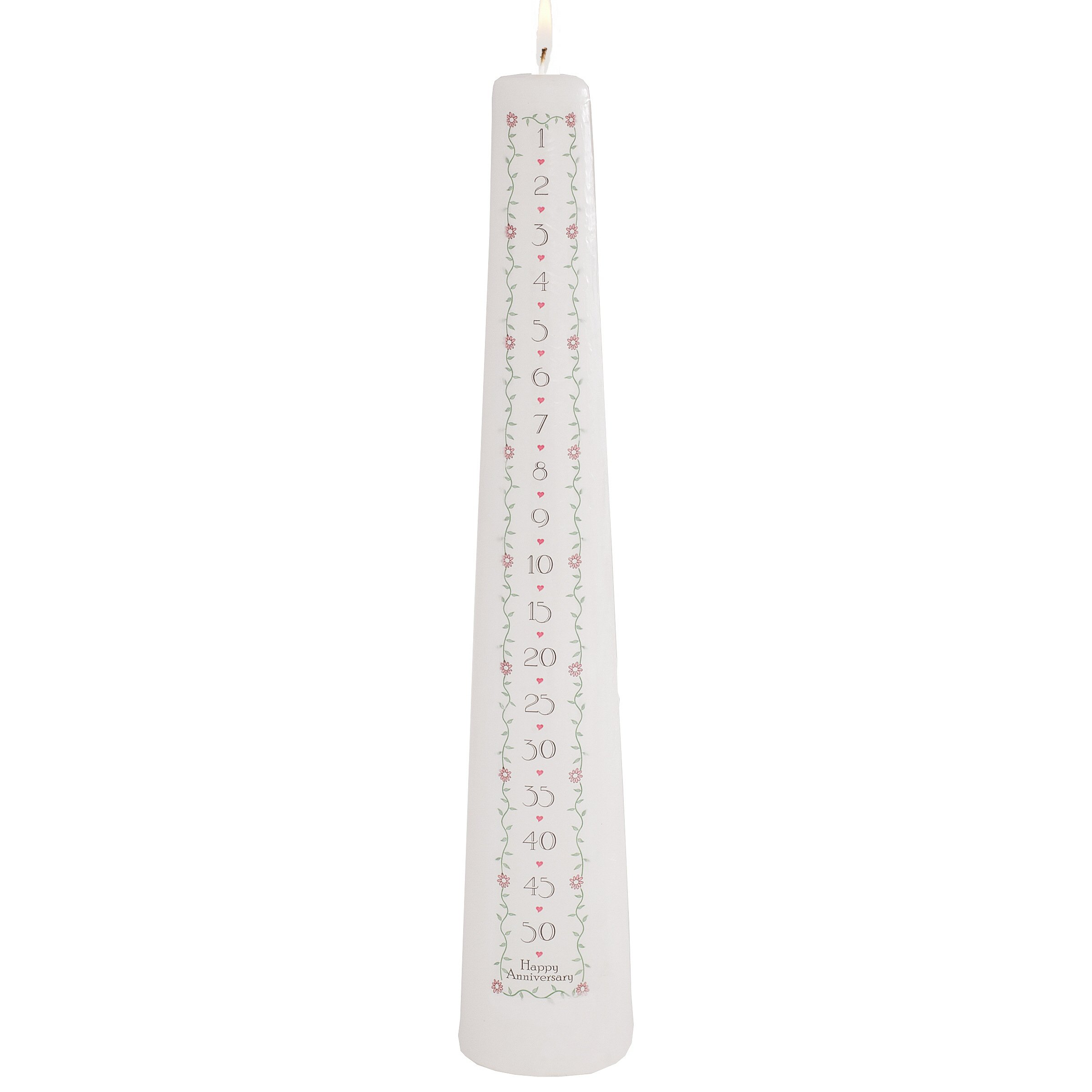 Celebration Candles Wedding Unity 15-Inch 1 to 50 Year Numbered Countdown Anniversary Candle, White