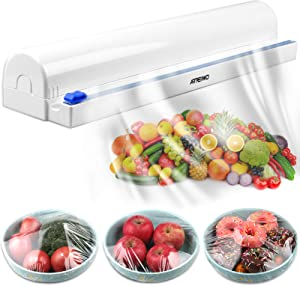 ArteiWo Reusable Food Cling Film Dispenser with Cutter, Adjustable Length Food Tin/Aluminum Foil, Parchment Paper & Baking Sheets, 1 BPA Free Plastic Wrap