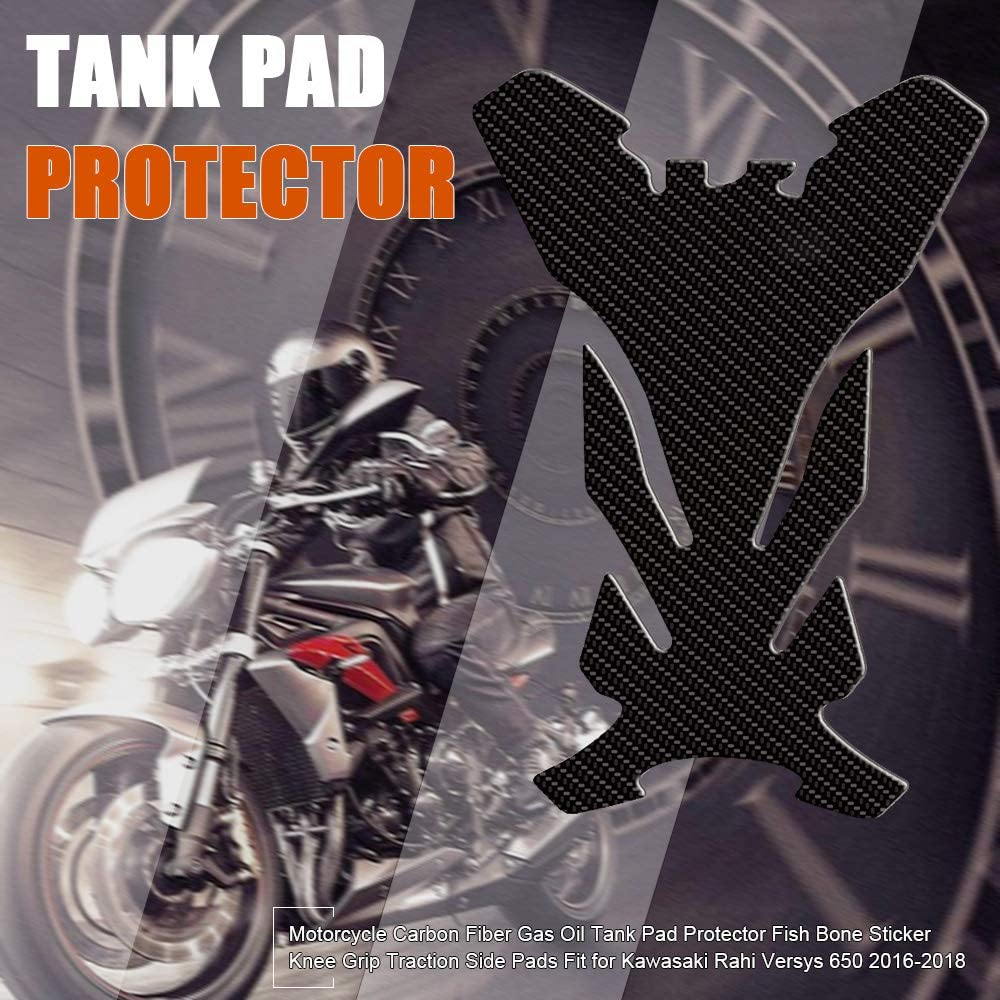 Motorcycle Carbon Fiber Gas Oil Tank Pad Protector Fish Bone Sticker Knee Grip Traction Side Pads Fit for Kawasaki Rahi Versys 650 2016-2018