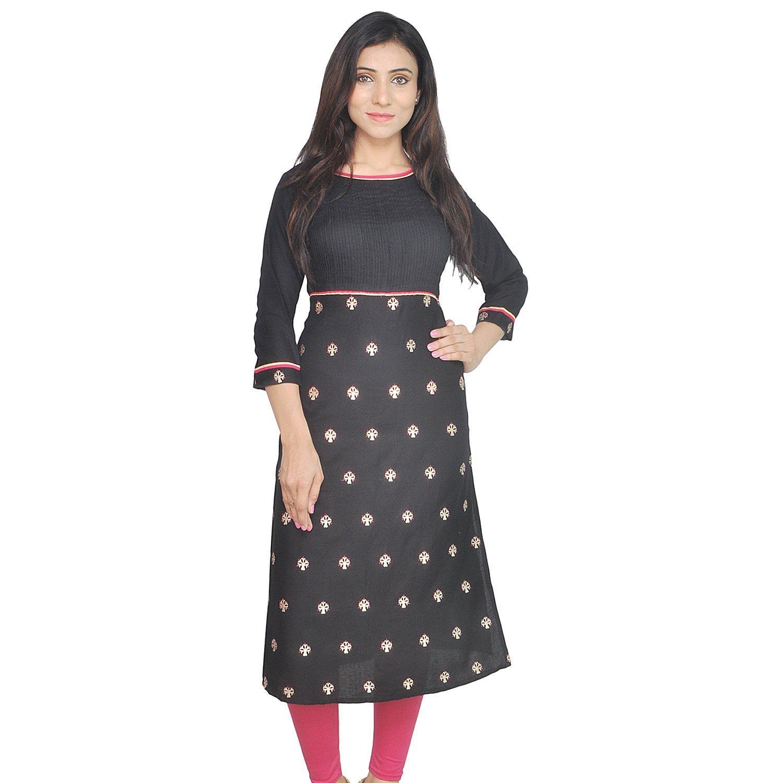 Chichi Indian Women Kurta Kurti 3/4 Sleeve Large Size Printed Straight Black Top