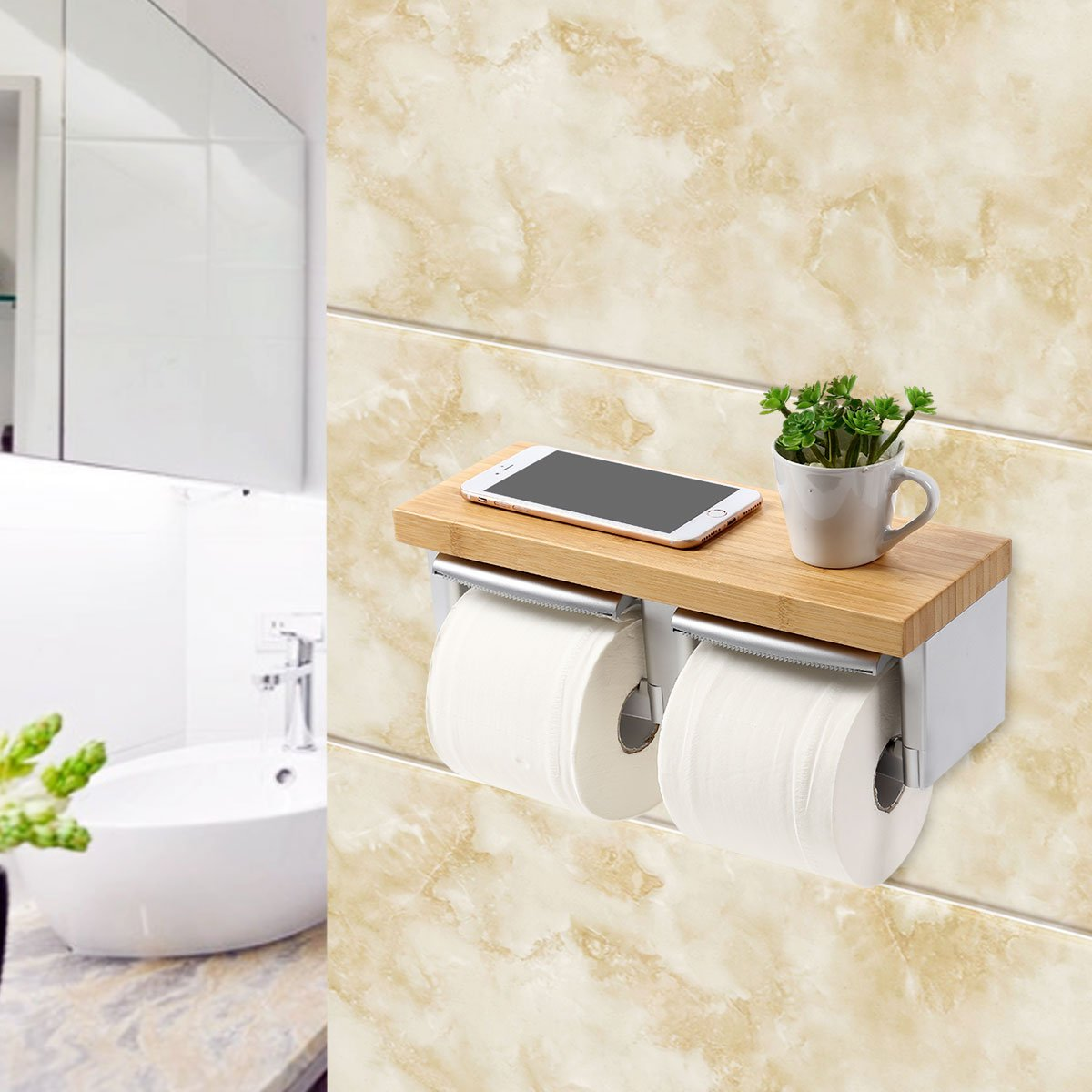 Toilet Paper Holder with Shelf, MEIBEI Double Toilet Roll Holder, Wall Mount Roll Paper Hanger with Mobile Phone Storage