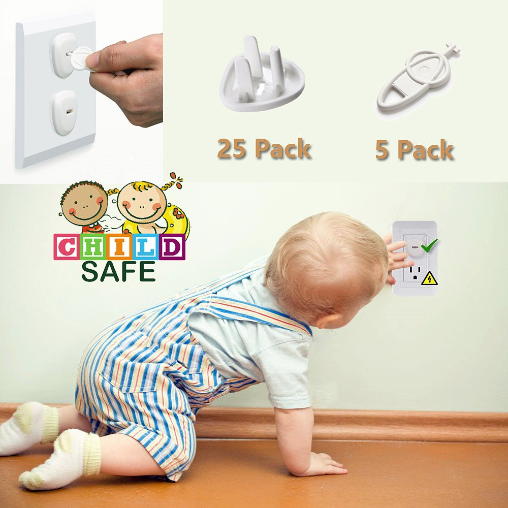 25 Plug Covers + 5 Keys MBigtree Child Proof Electrical Protector Safety Caps Kit Outlet Plug Covers Baby Proofing