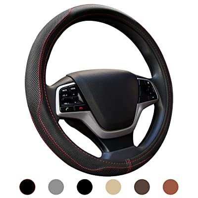 Ylife Microfiber Leather Car Steering Wheel Cover, Universal 15 inch Breathable Anti Slip Auto Steering Wheel Covers, Black and Red: Automotive