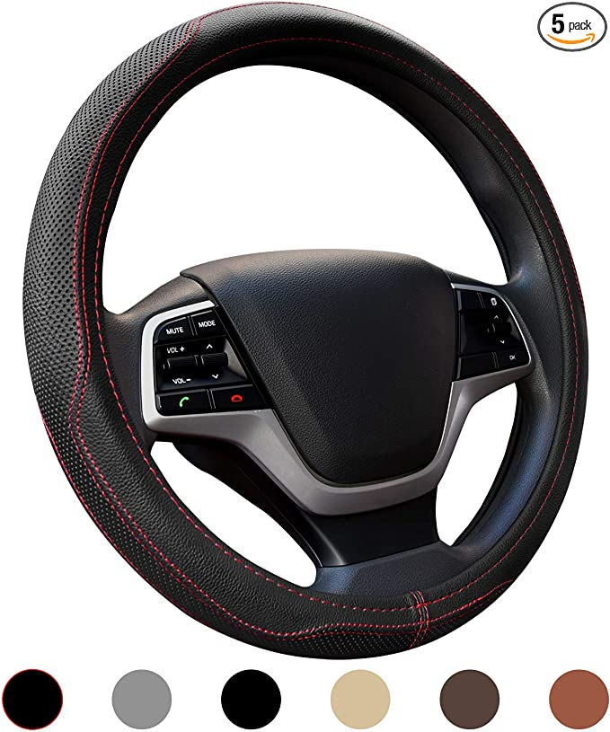Smaw 15 Inch Genuine Leather Steering Wheel Cover Durable No Smell Odorless Universal Size Year Round Use Steering Covers