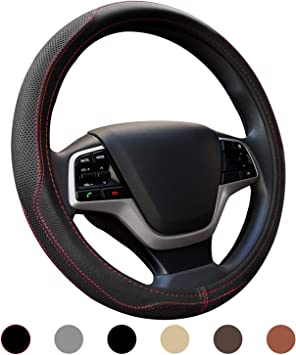 Micro Fiber Leather Car Steering wheel Cover 15 inches Black Red