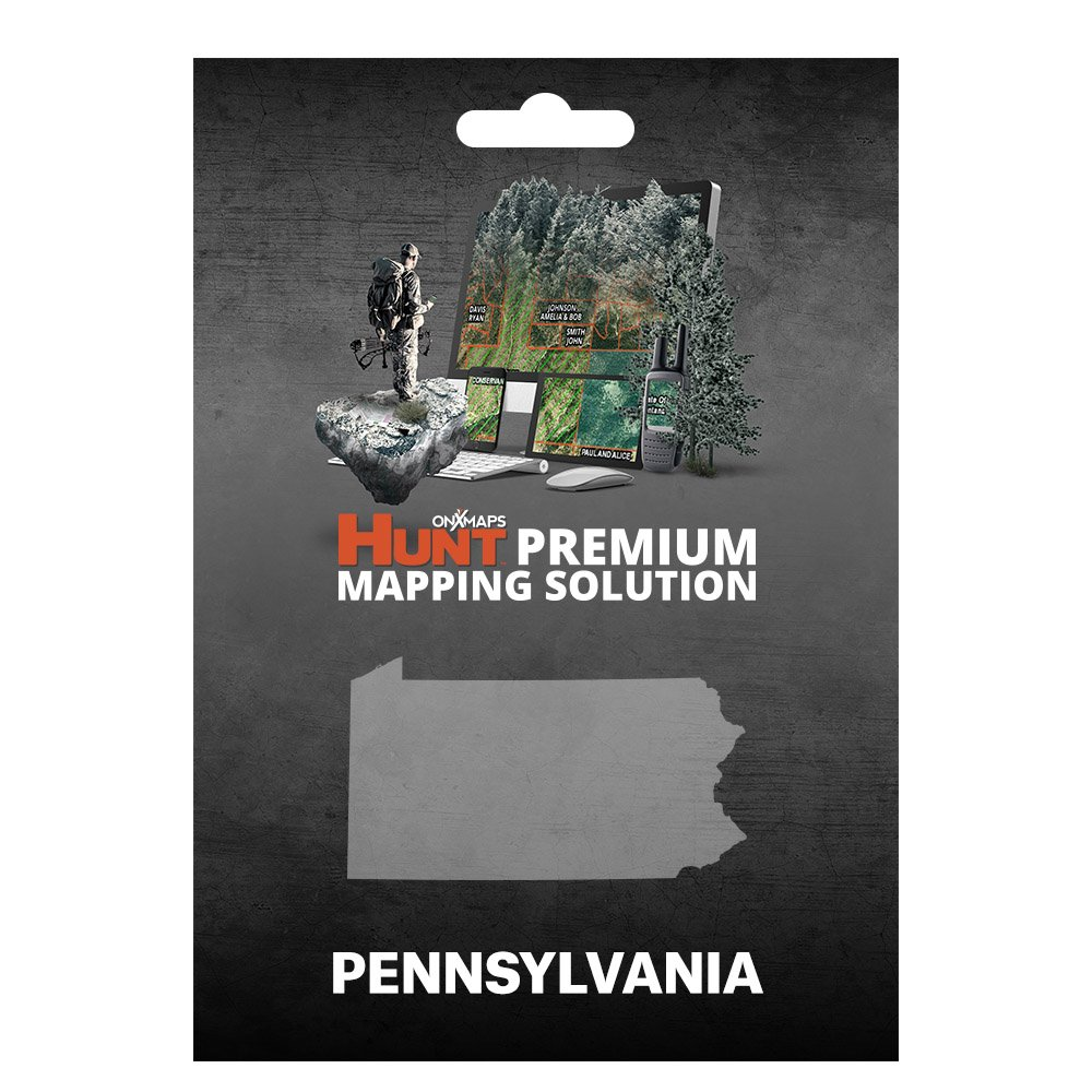 onXmaps HUNT Pennsylvania: Digital Hunting Map For Garmin GPS + Premium Membership For Smartphone and Computer - Color Coded Land Ownership - 24k Topo - Hunting Specific Data