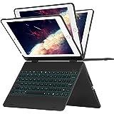 Greenlaw 9.7 ipad キーボードケース 360 Degreeフリップ - ワイヤレス - 7色バックライト - 超スリム - オートスリープウェイク ipad 2018(第6世代)、2017(第5世代)iPad Air,iPad Air 2,iPad Pro 9.7,2017 New iPad 9.7に対応(ブラック)