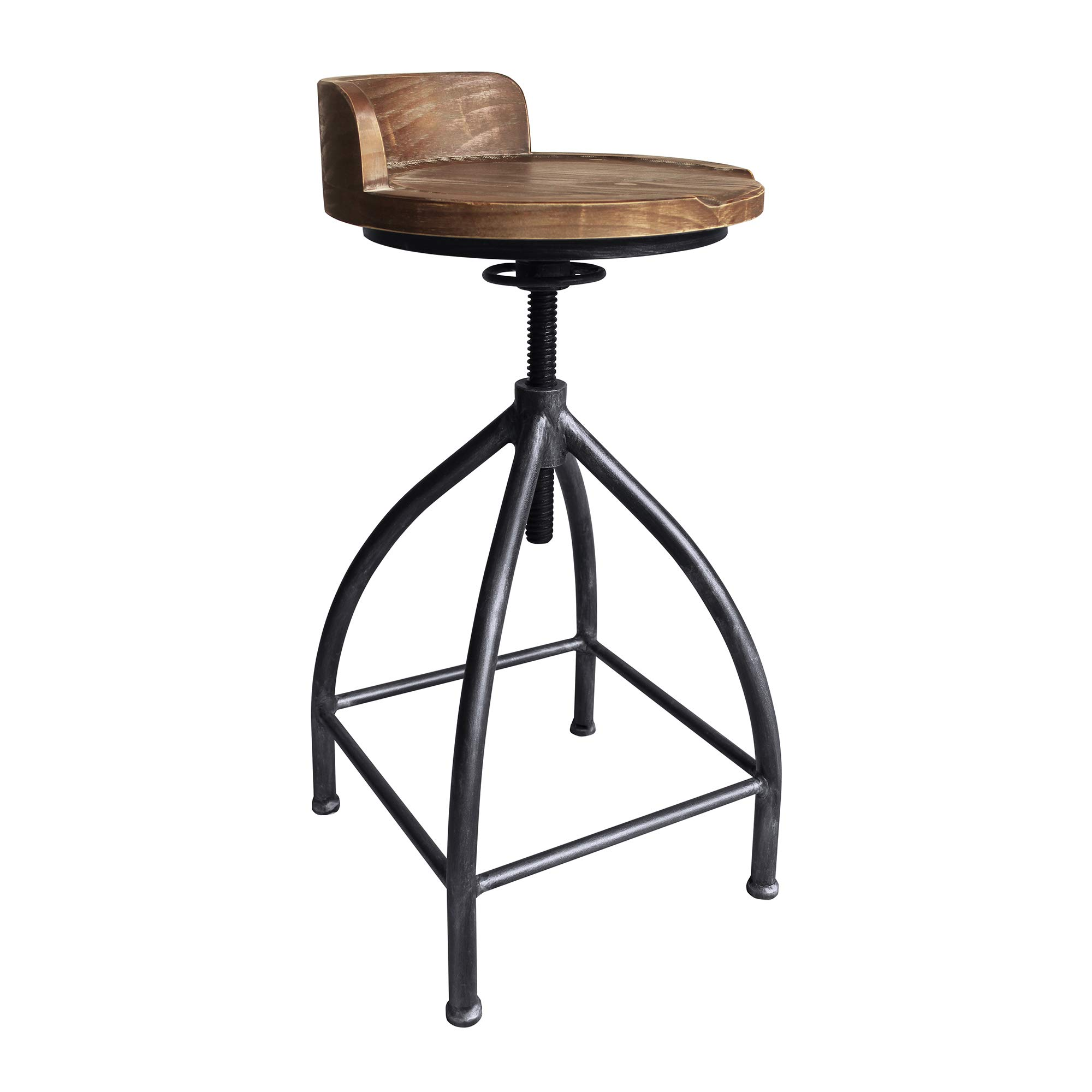 Today's Mentality Fuchsia Industrial Adjustable Metal Barstool in Silver Brushed Gray with Brown Wood Seat