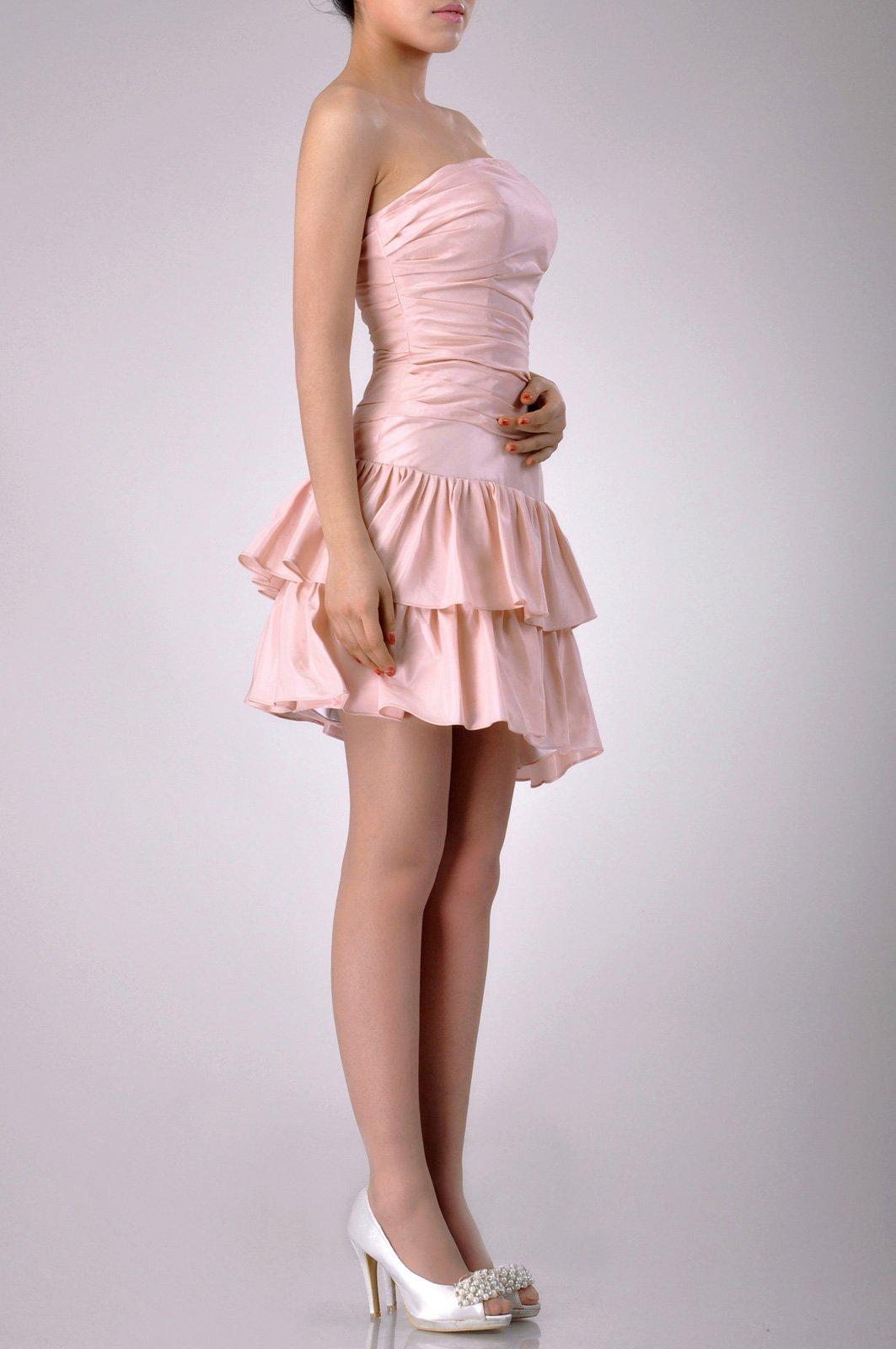 Taffeta Natrual Bateau Short Strapless Homecoming Modest Bridesmaid Dress Short, Color White,14 by Adorona (Image #5)