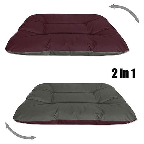 BedDog Rex 2en1 Burdeos/Gris XXL Aprox. 120x100x14cm colchón para Perro, 9 Colores, Cama, sofá, Cesta para Perro