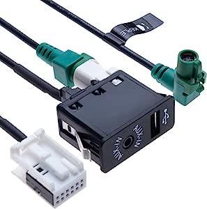 USB AUX Car Switch + USB 4 pin Connecting Wire + AUX 12 pin Harness Cable | Compatible with BMW 1 3 5 6 E81 E82 E87 E88 E90 E91 E92 E93 E60 E61 F07 F10 F11 E63 E64 F06 F12 F13 Vehicle Radio | 4.9 ft