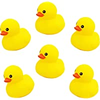 Pacificdeals Duck Family Baby Bathing Toys Set of 6 Yellow Rubber Squeaky Squeeze Lovely Ducklings for Kids