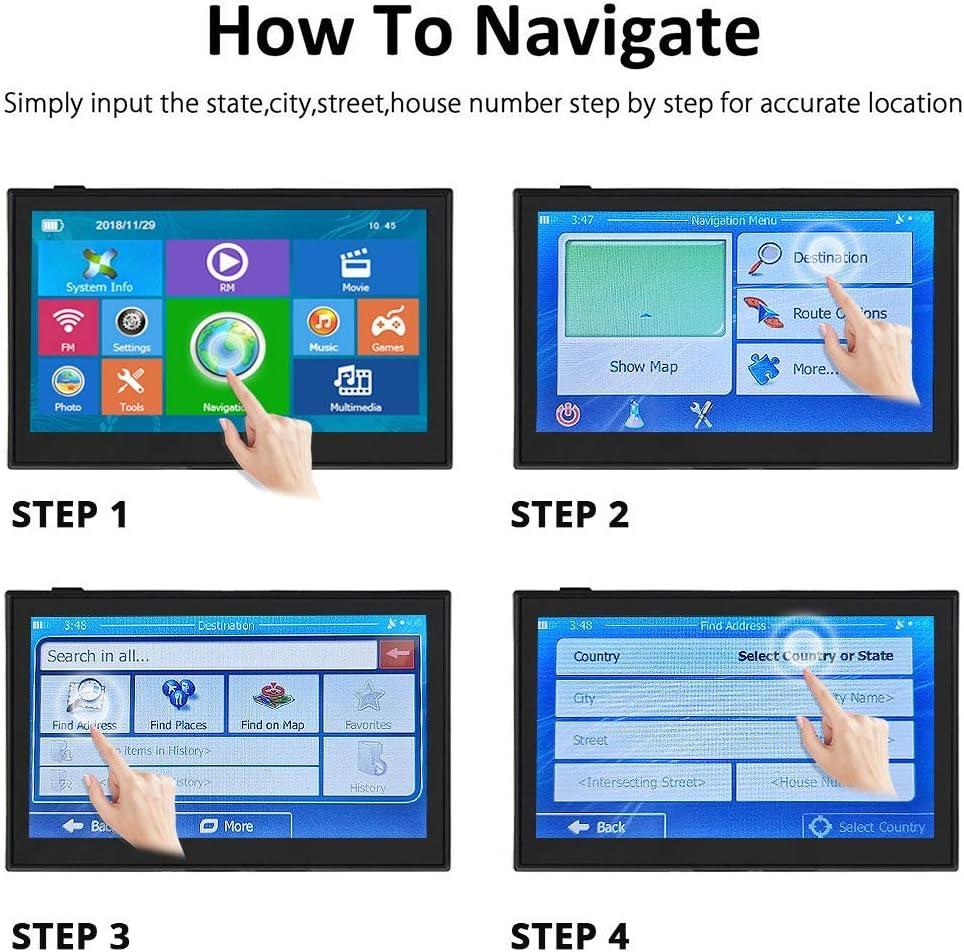 Vehicle GPS Navigator Lifetime Maps HighSound GPS Navigation for Car 5 inches 8GB Lifetime Map Update Spoken Turn-to-Turn Navigation System for Cars
