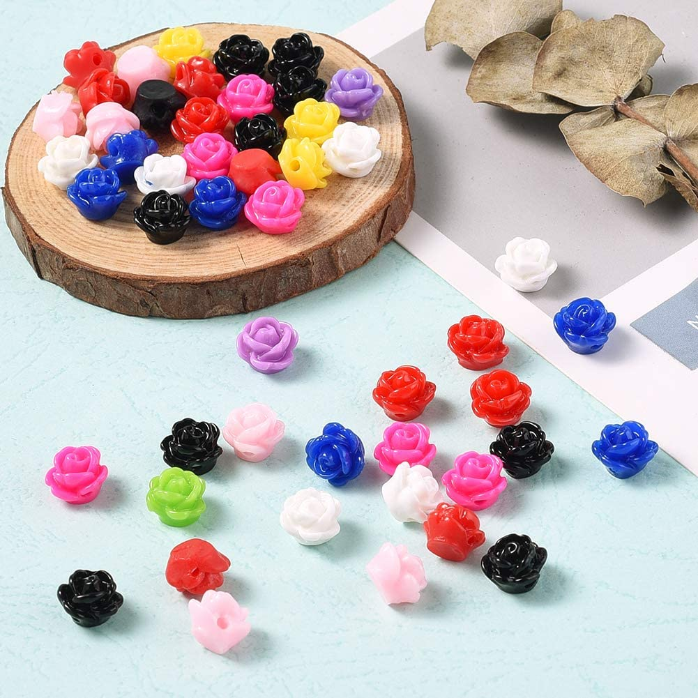 Craftdady 200pcs Resin Rose Flower Flatback Cabochons 11x12mm Undrilled Random Mixed Colors for Scrapbooking DIY Crafts Making