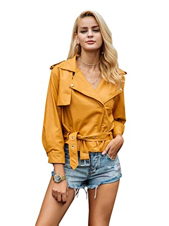 00d73367dc6f Simplee Apparel Damen Jacke Herbst Winter Elegant Cusual PU Leather Jacke  Kurz Jacket Mantel Übergansjacke mit Gürtel