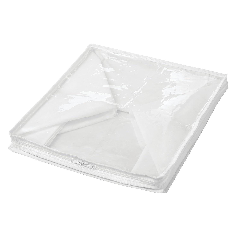 quadratische Faltbox f/ür Kleidung und Bettw/äsche praktische handliche Aufbewahrungstasche aus Polypropylen wei/ß//durchsichtig mDesign 2er-Aufbewahrungsbox-Set mit Rei/ßverschluss