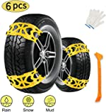 Buyplus Snow Tire Chains for Cars - 6 Sets Adjustable Anti