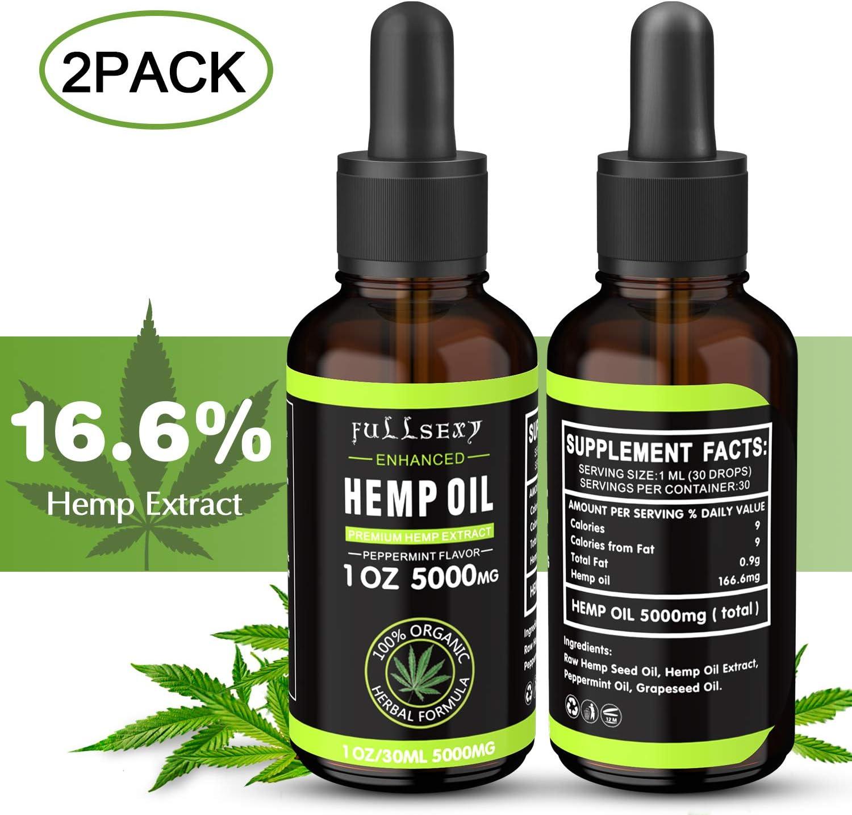 2 Pack 16.6% Aceite de Cáñamo 30 ML, Aceite de Cáñamo 5000 MG de Extracto de Cáñamo, Naturales, Orgánicas, Ricas en Vitamina E, D, Omega 3 6 9, Mejorar Sueño, Analgésico y Antiinflamatorio
