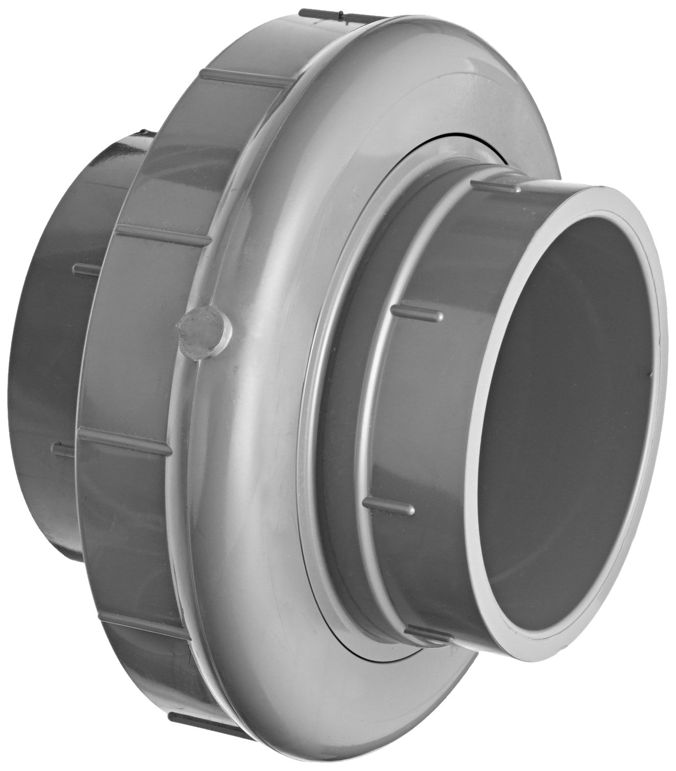 GF Piping Systems PVC Pipe Fitting, Union, Schedule 80, Gray, 4'' Slip Socket