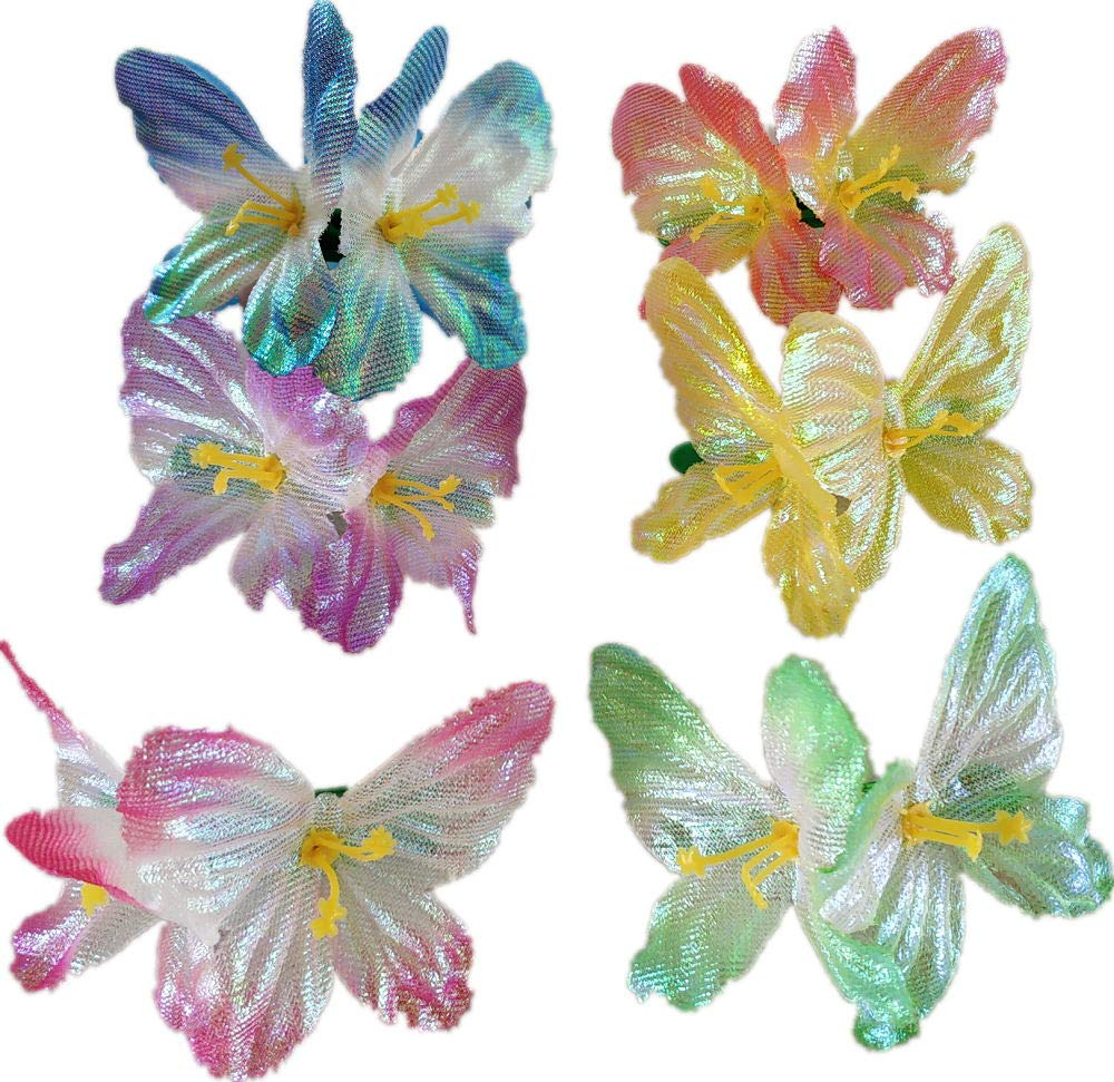 Glittery Flower Leis Necklace 1 DOZ and 6 PCS Glittery butterfly hair clip