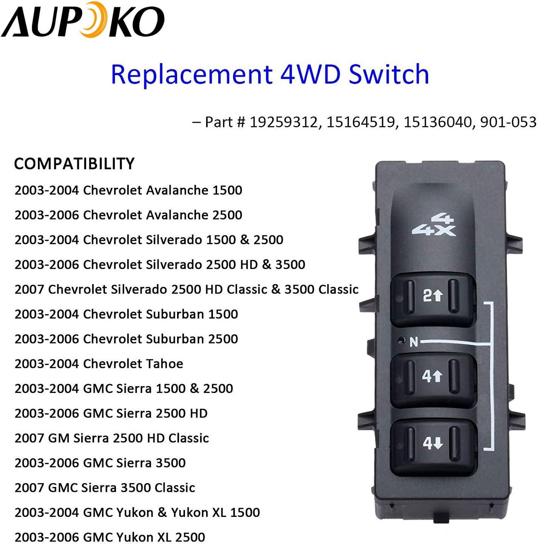 19259312 15164519 4WD Selector Switch 3 Button 4x4 Wheel Drive Without Auto for 2003-2007 Chevy Silverado Suburban Avalanche GMC Yukon XL Sierra 15136040