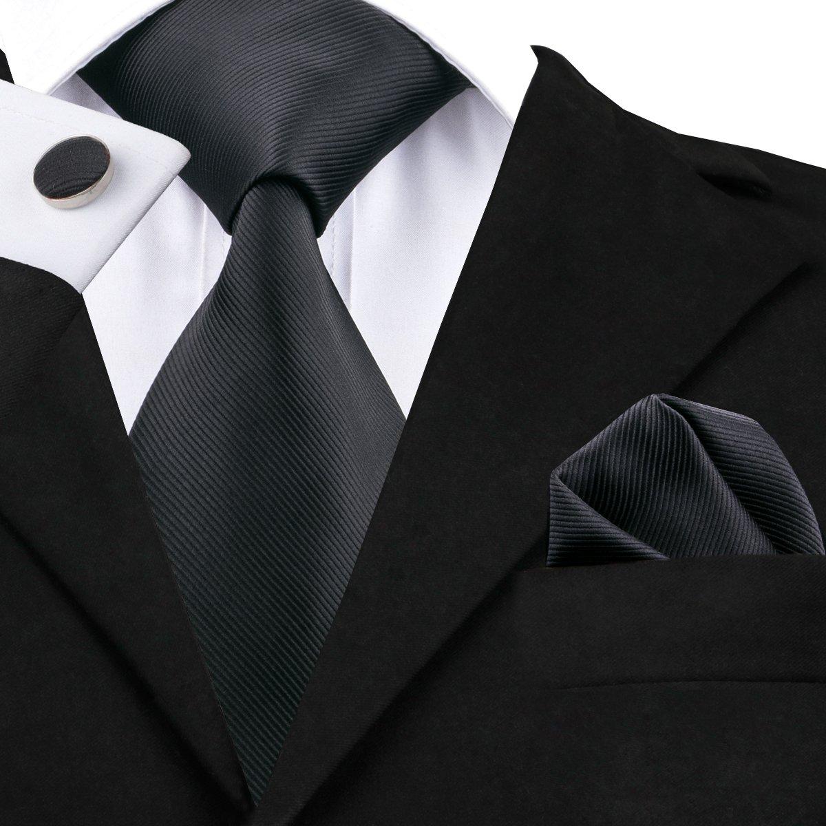 Hi-Tie, Seiden-Krawatte für Herren mit Manschettenknöpfen und Taschentuch GCID-0840