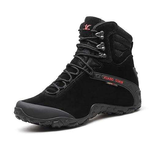 d4b8dcb20af XIANG GUAN Men's & Women's Water Resistant Leather High-top Outdoor Winter  Footwear Hiking Shoes Trekking Shoes Climbing Boots