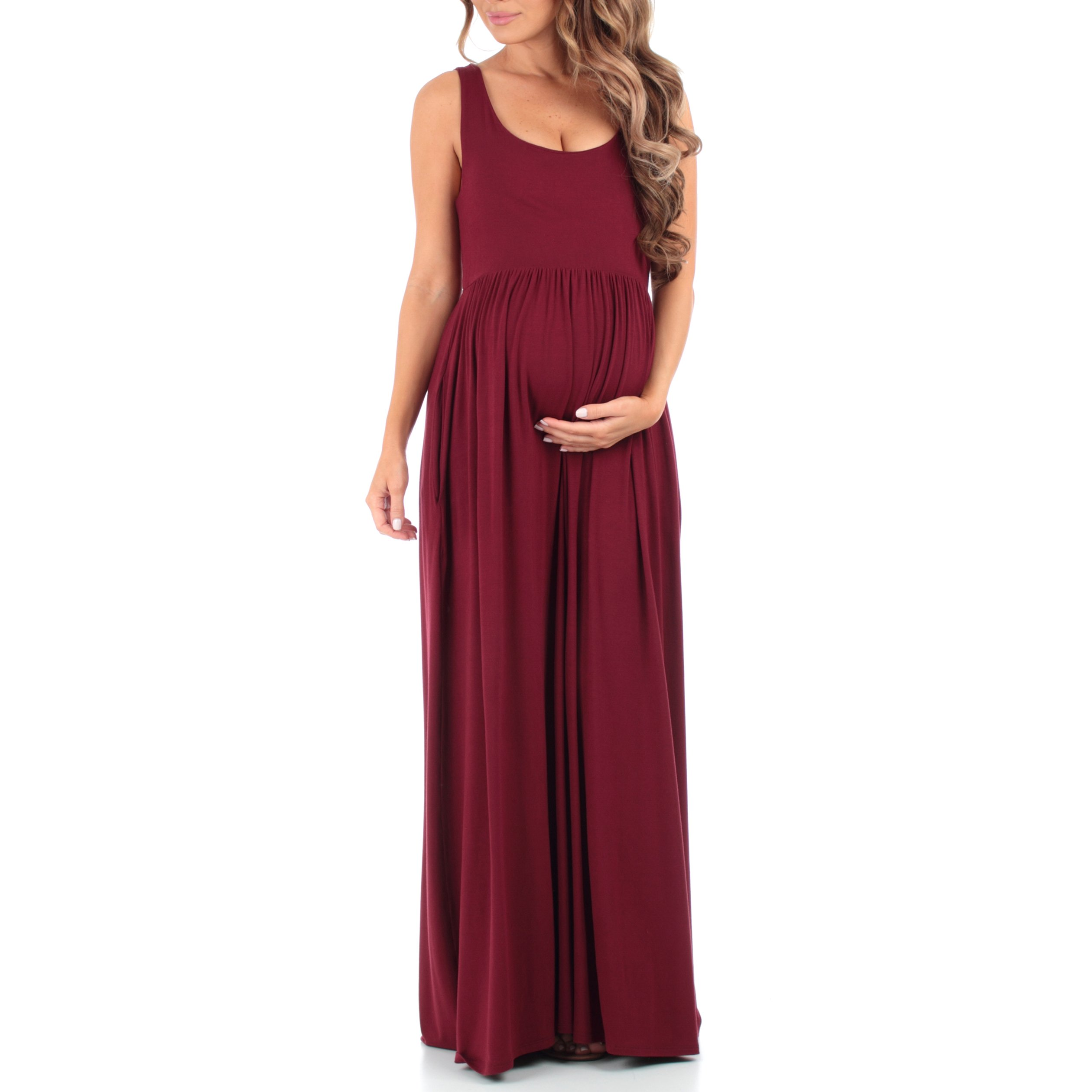 Womens Sleevless Ruched Maternity Dress with Pockets by Mother Bee - Made in USA Burgundy Large