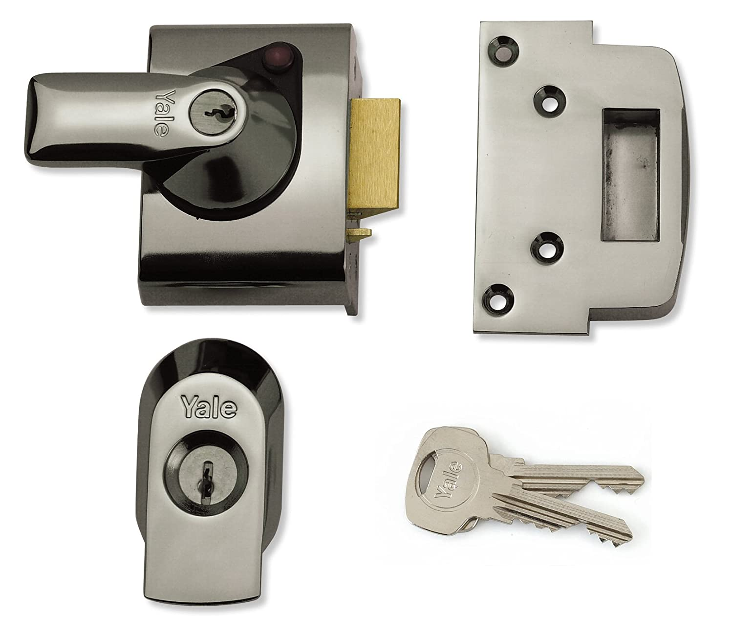 Yale Locks BS2 Nightlatch British Standard Security Lock 40 mm Brasslux Finish Visi Pack YALPBS2BLX