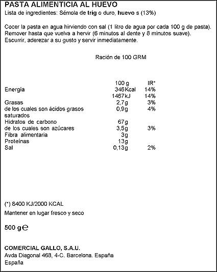 Pastas Gallo - Maccheroni Huevo Paquete 500 g - , Pack de 6 ...