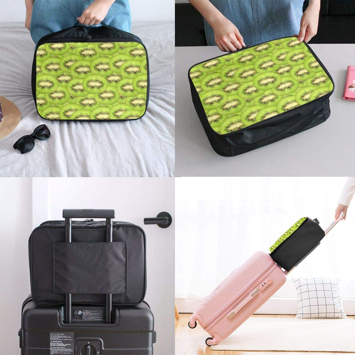 YueLJB Green Kiwi Fruit Pattern Lightweight Large Capacity Portable Luggage Bag Travel Duffel Bag Storage Carry Luggage Duffle Tote Bag