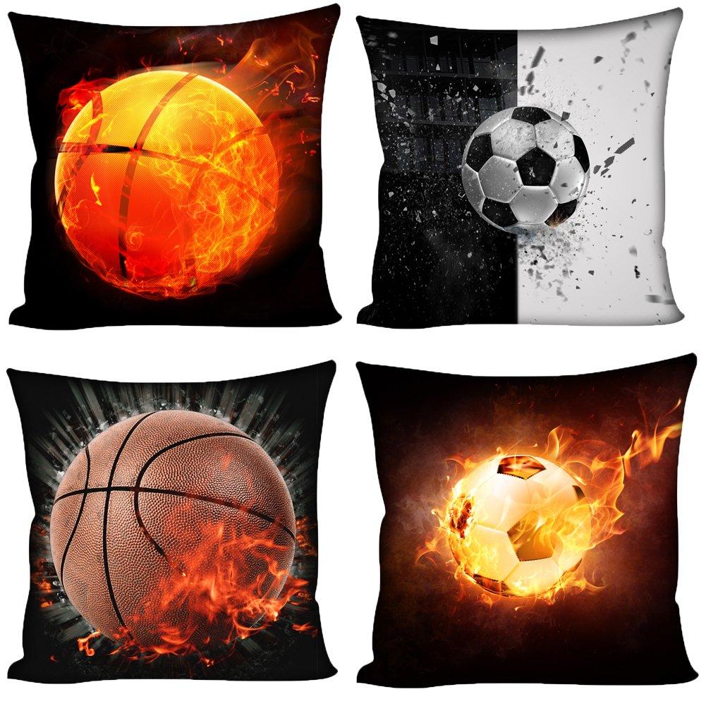 Coloranimal 3d-Fußball-Motiv, Kissenbezug für Couch Sofa Schlafzimmer Büro 18x 18cm Abdeckung, Basketball Soccer, 18inchx18inch