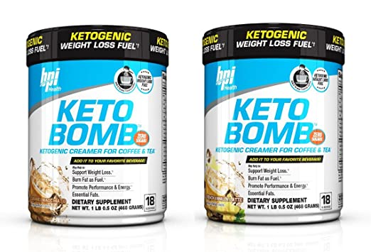 BPI Sports Keto Bomb Creamer Caramel Macchiato and French Vanilla (Pack of 2, one flavor each)