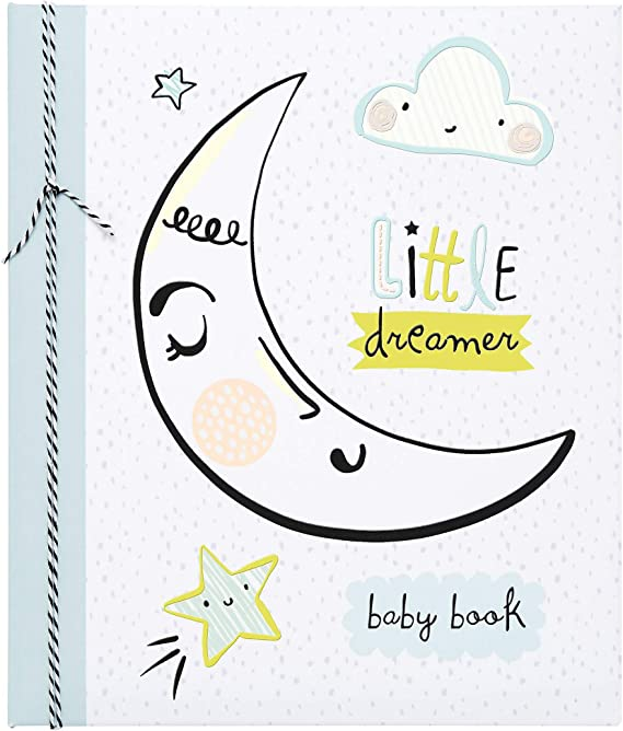 C.R Gibson Loose-Leaf Moon and Stars Little Dreamer Baby Memory Book Expandable 64 Pages