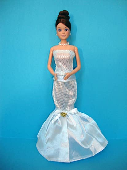 White Strapless Evening Gown Made to Fit Barbie Doll
