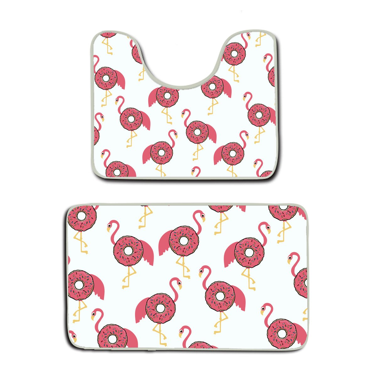 US TANG 2 Piece Bath Mat Set - Flamingo Donut Funny - Luxury White Cotton Bath Mats Hotel Spa Washable tub Set