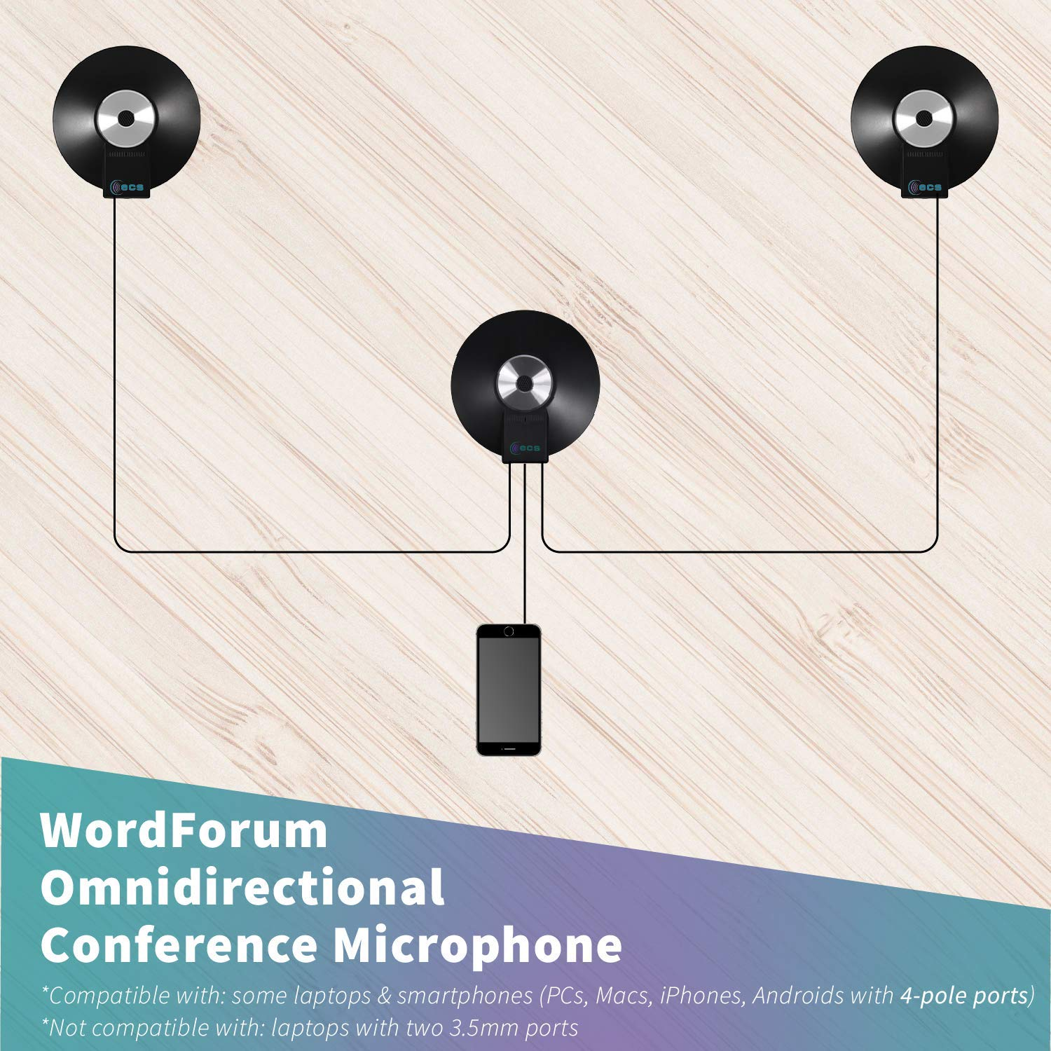 2 1 Android Tablets with 3.5 mm 4 Pole Jack Microsoft Surface WordForum 3.5 mm 4 Pole with Smartphone WordForum 3.5 mm 360/° Omni-Directional Conference Recording Microphones for iPhone