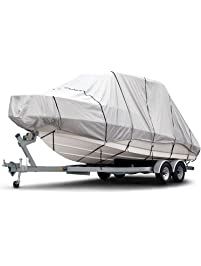 Budge 1200 Denier Boat Cover fits Hard Top / T-Top Boats B-1221-X8 (24' to 26' Long, Gray)